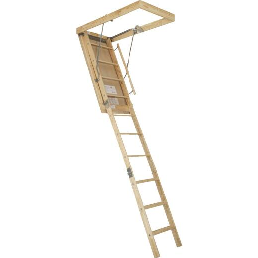 Louisville Premium 7 Ft. to 8 Ft. 9 In. 25-1/2 In. x 54 In. Wood Attic Stairs, 250 Lb. Load