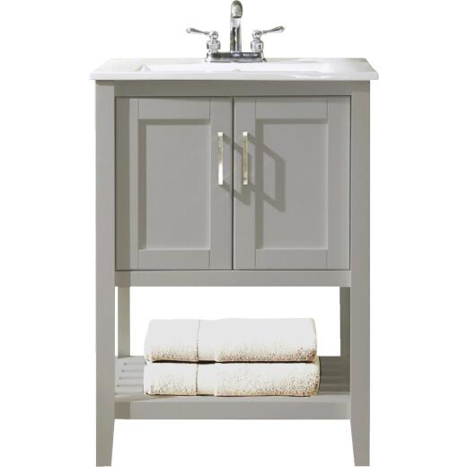 Design House Valerie Dove Gray 24 In. W x 34 In. H x 18 In. D Vanity with Porcelain Top