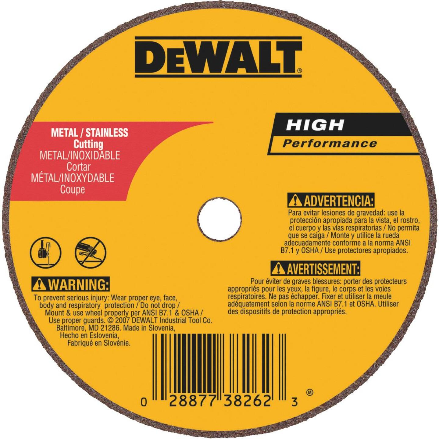 DeWalt HP Type 1, 4 In. Cut-Off Wheel Image 1