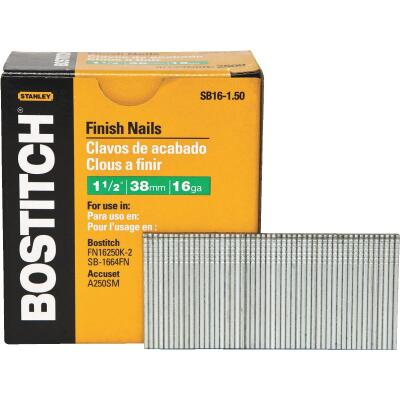 Bostitch 16-Gauge Coated Straight Finish Nail, 1-1/2 In. (2500 Ct.)