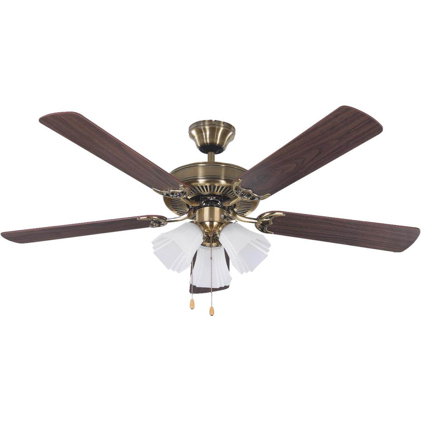 Home Impressions Sherwood 52 In. Antique Brass Ceiling Fan with Light Kit Image 1
