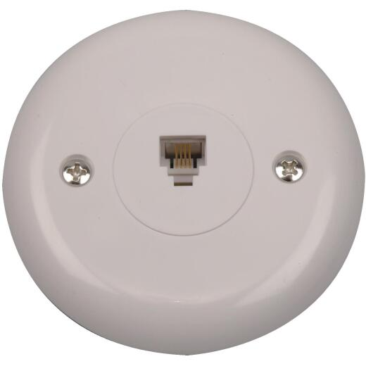 RCA White Flush Mount Round Telephone Jack