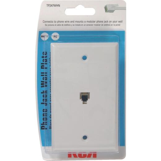 RCA White Flush Mount Telephone Jack