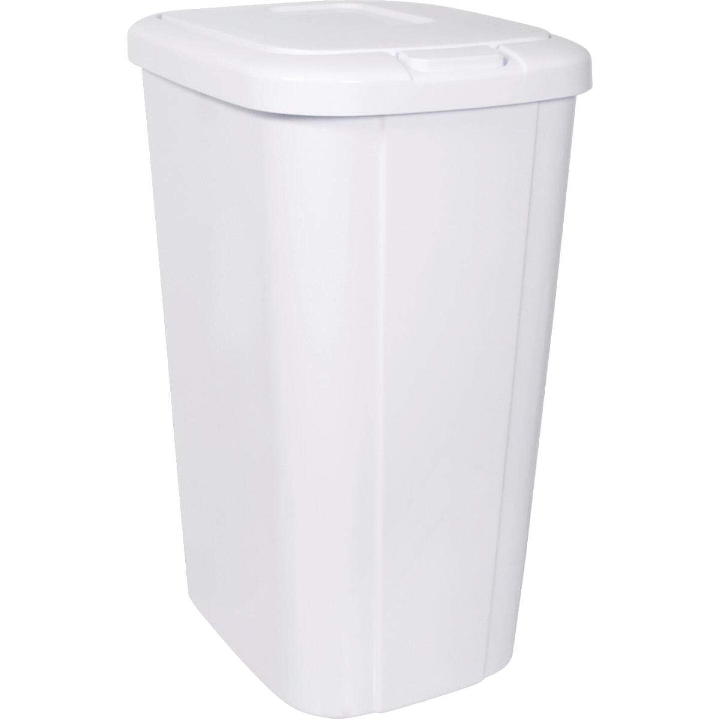 Hefty 53 Qt. White Wastebasket with Lid Image 1