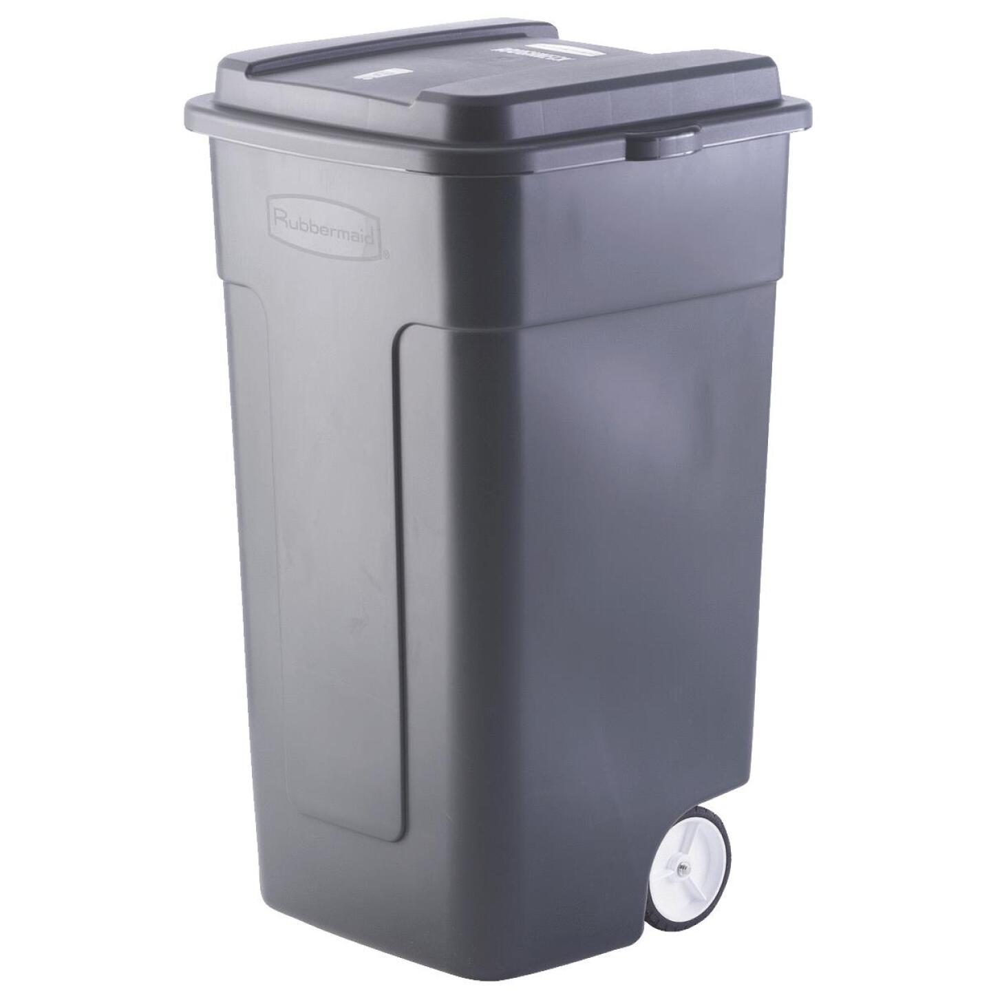Rubbermaid 50 Gal. Black Wheeled Trash Can with Lid Image 1