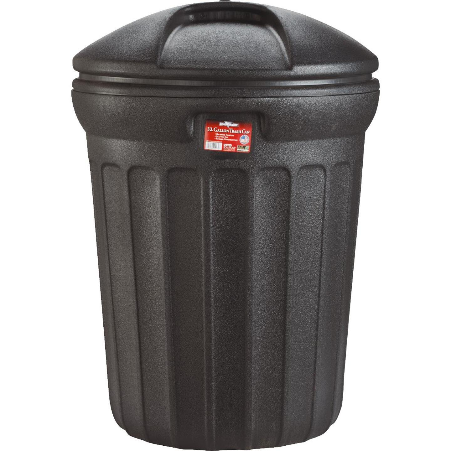 United Solutions Rough & Rugged 32 Gal. Black Trash Can with Lid Image 3