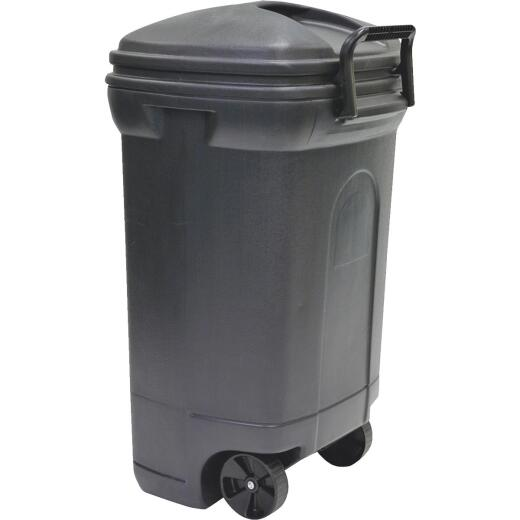 United Solutions Rough & Rugged 34 Gal. Black Wheeled Trash Can with Lid & Locking Handle