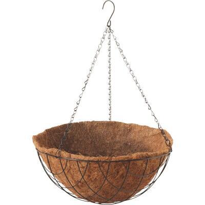 Best Garden 14 In. Steel Rod Black Powder Coat Hanging Plant Basket