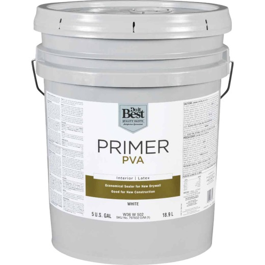 Do it Best PVA Interior Latex Drywall Primer, White, 5 Gal.