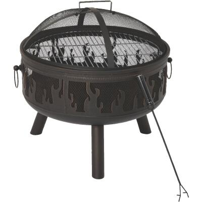 Outdoor Expressions 24 In. Antique Bronze Round Steel Fire Pit