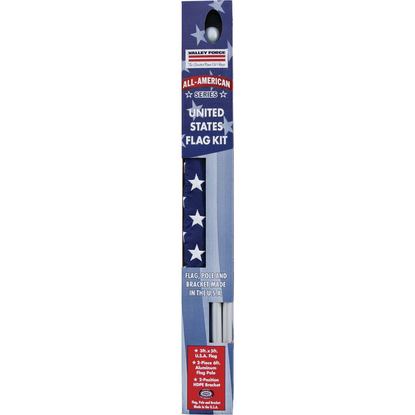 Valley Forge 3.5 Ft. x 5 Ft. Nylon American Flag & 6 Ft. Pole Kit Image 3