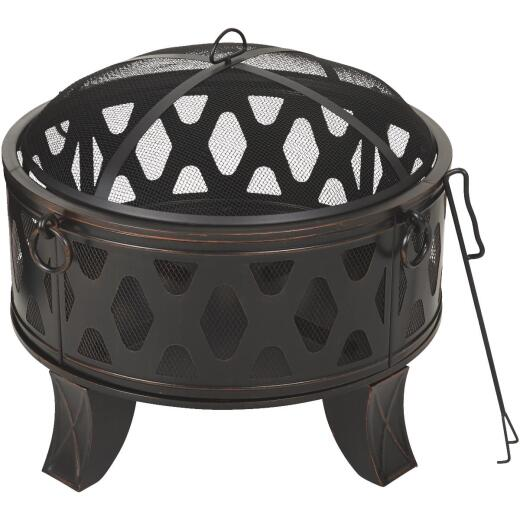 Outdoor Expressions 26 In. Antique Bronze Deep Bowl Steel Firepit